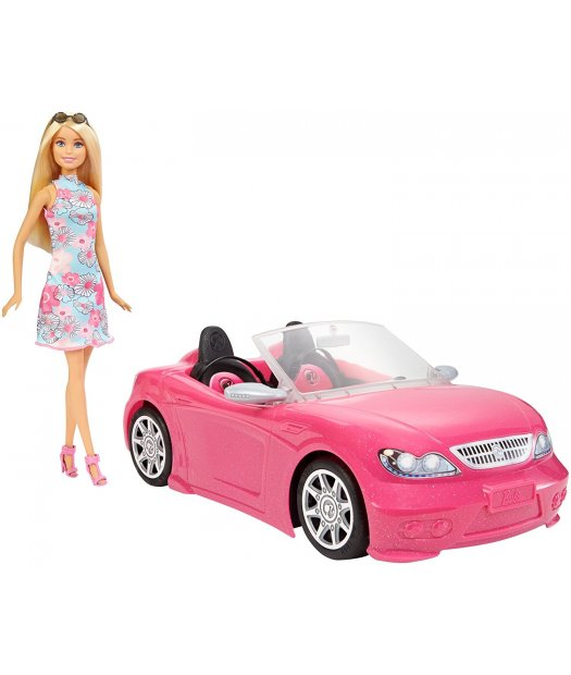 barbie con descapotable rosa